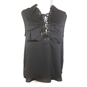 L'Aacademie Black Sleeveless Blouse